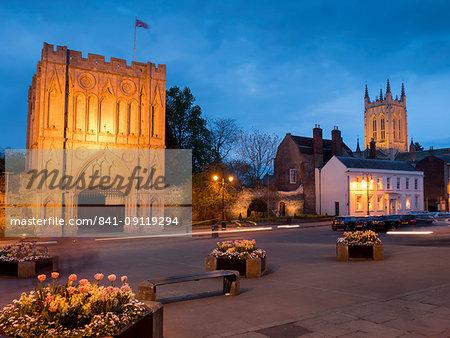 Norman Gatehouse tower and Abbey at twilight, Bury St. Edmunds, Suffolk, England, United Kingdom, Europe