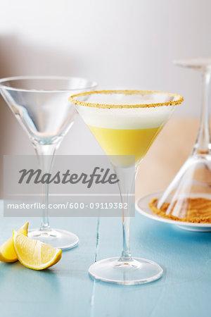 Lemon martinis on a blue background