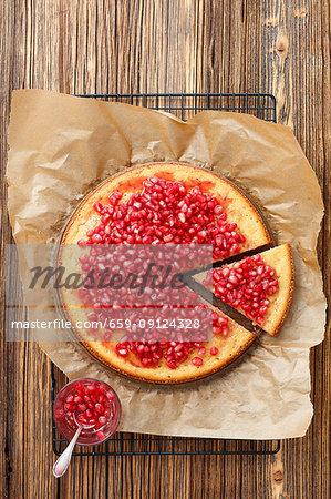 Yogurt cake with pomegranate syrup
