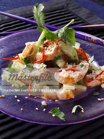 A plate of Thai chicken salad