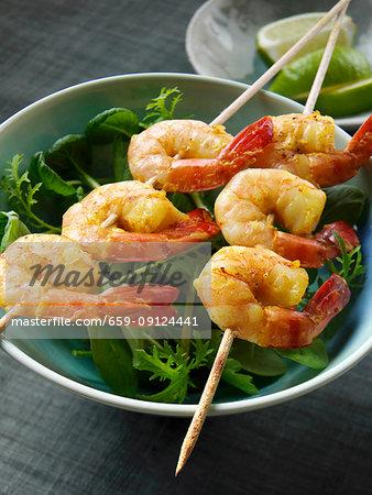 Barbecued curried prawns