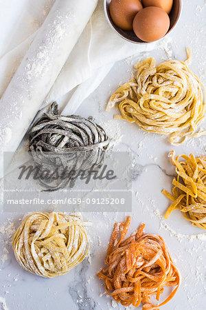 Homemade coloured tagliatelle