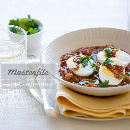 Spicy hard-boiled eggs with garam masala