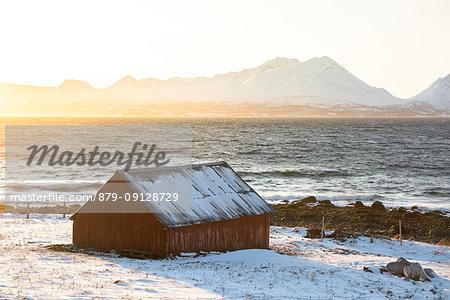 The winter sun hits a typical house, Nordmannvik, Kafjord, Lyngen Alps, Tromso, Norway, Europe