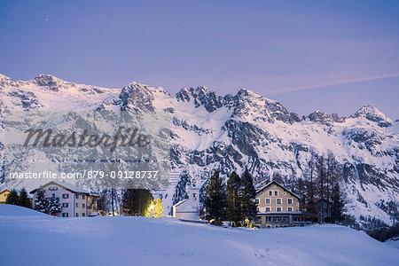 Dawn on the little village in Fex Valley in Engadine, St Moritz, canton of Graubünden, Engadine, Switzerland, Europe