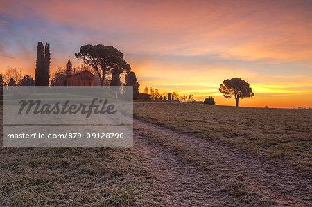 Sunrise on church of Pomelasca, Inverigo, Como province, Brianza, Lombardy, Italy, Europe