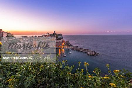 Vernazza, 5 Terre, Province of La Spezia, Liguria, Italy. Sunrise at Vernazza.