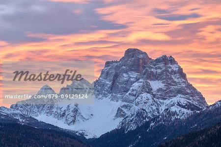 Colorful sunrise towards Pelmo mountain, Selva di Cadore, Belluno, Veneto, Italy