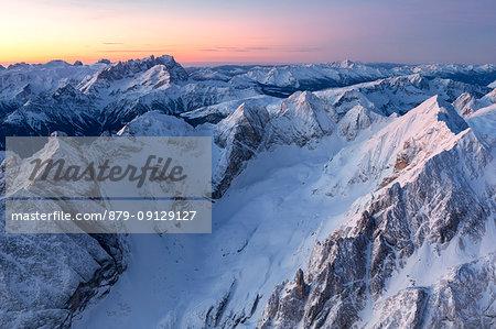 Aeeial view towards Pala group, Dolomites, Alps, Belluno, Veneto, Italy