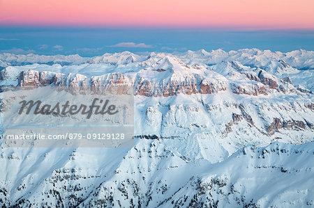Sella group with Sass Pordoi and Piz Boè, aerial view, Dolomites, Alps, Belluno, Veneto, Italy
