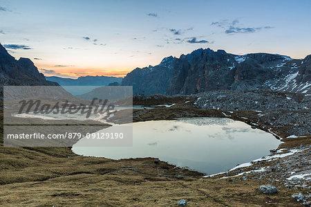 Laghi Dei Piani at sunset, Dolomites, South Tyrol, province of Bolzano, Italy