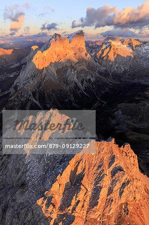 Aerial view of Colac, Gran Vernel and Marmolada, Dolomites, Trentino Alto Adige, Italy