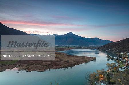 Dascio at sunrise, Nature Reserve of Pian di Spagna, Sorico, Chiavenna Valley, province of Como, Valtellina, Lombardy, Italy