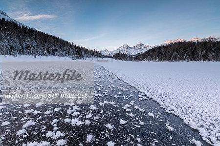 Ice crystals, Lej da Staz, St Moritz, canton of Graubünden, Engadine, Switzerland