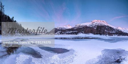 Panoramic of Piz Da La Margna seen from the frozen Lake Champfer, Silvaplana, canton of Graubunden, Engadin, Switzerland