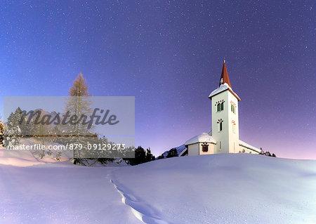 Panoramic of Chiesa Bianca at night, Maloja, Bregaglia Valley, canton of Graubunden, Engadin, Switzerland