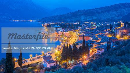Torbole at night Europe, Italy, Trentino, Torbole