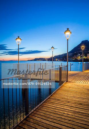 Gargnano village pier on Garda Lake, Brescia Province, Lombardy, Italy