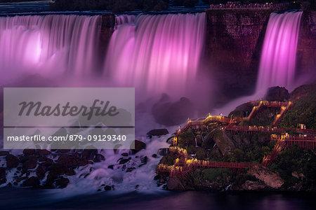 Niagara falls purple night illumination, niagara, state of new york, usa