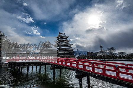 Snowfall Covered Matsumoto castle, Nagano Prefecture, Japan