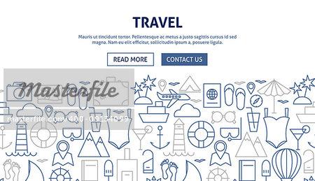 Travel Banner Design. Vector Illustration of Line Web Concept.
