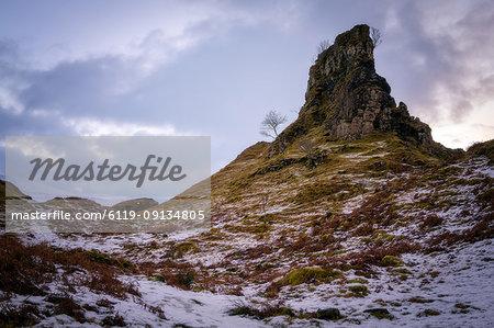 The Castle in the Snow, Fairy Glen, Isle of Skye, Inner Hebrides, Scotland, United Kingdom, Europe