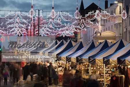 Christmas Market and decorations along Bridge Street, Stratford-upon-Avon, Warwickshire, England, United Kingdom, Europe