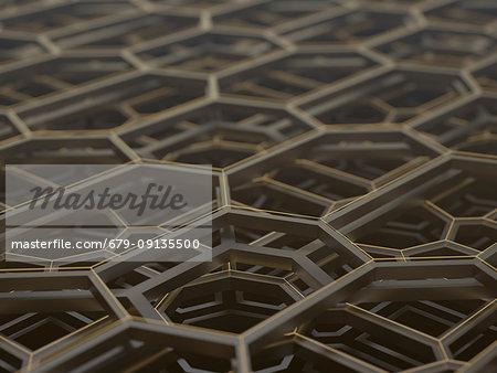 Abstract hexagonal structure, illustration.