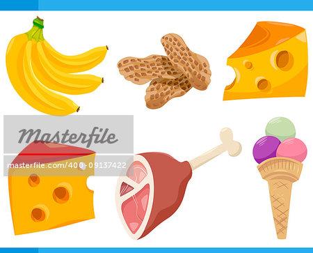 Cartoon Illustration Set of Food Objects