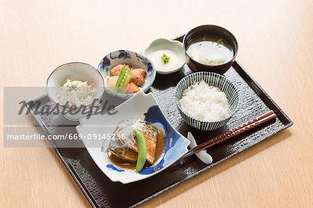Set menu of boiled mackerel miso style
