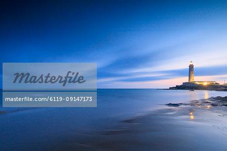 Lighthouse at dusk, Capo Granitola, Campobello di Mazara, province of Trapani, Sicily, Italy, Mediterranean, Europe