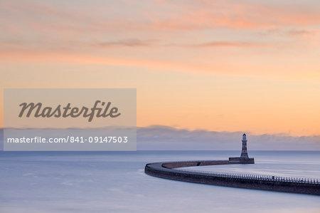Roker pier and lighthouse at sunrise, Roker, Sunderland, Tyne and Wear, England, United Kingdom, Europe