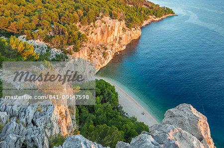 High-angle view over Nugal Beach near Makarska at sunset, Croatia, Europe