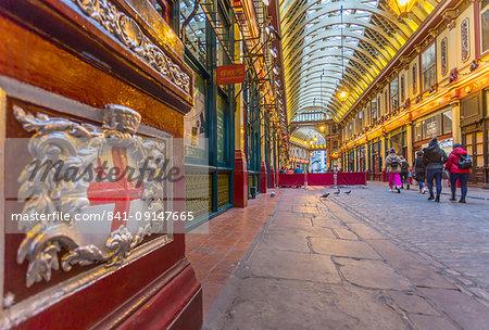 View of interior of Leadenhall Market, The City, London, England, United Kingdom, Europe