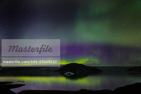 Aurora Borealis, Qualerallit glacier, Narsaq, Vestgronland, Greenland