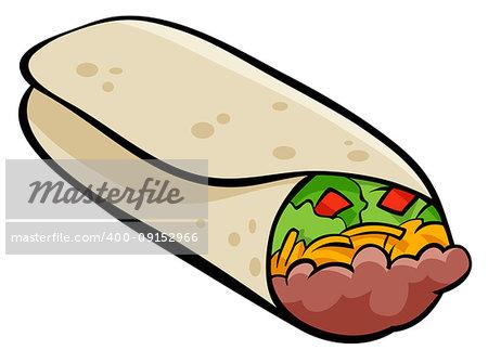 Cartoon Illustration of Mexican Burrito Food Object