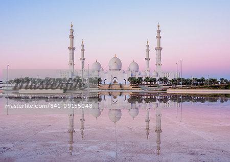 Sheikh Zayed bin Sultan Al Nahyan Grand Mosque at dawn, Abu Dhabi, United Arab Emirates, Middle East