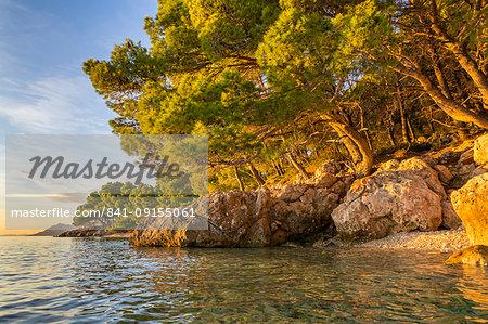 Small beach at Cvitacka near Makarska at sunset, Croatia, Europe