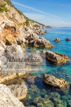 Rocky coastline near Sveta Nedjelja on Hvar Island, Hvar, Croatia, Europe