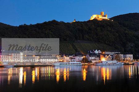 View over Moselle River to Bernkastel-Kues, ruins of Landshut Castle, Rhineland-Palatinate, Germany, Europe
