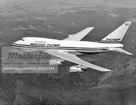 1970s BOEING 747 SP JET AIRPLANE IN FLIGHT