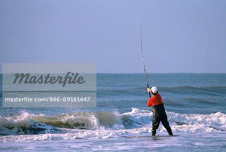 SURF FISHING OCRACOKE ISLAND NORTH CAROLINA USA