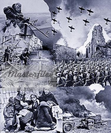 1930s 1940s MONTAGE WWII IMAGES MACHINE GUN ARTILLERY AIRPLANES NAZI TROOPS MARCHING REFUGEES WOMEN CHILDREN DEATH DESTRUCTION