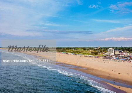 Beach in Scheveningen, elevated view, The Hague, South Holland, The Netherlands, Europe
