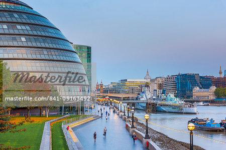 City Hall by River Thames, Southwark, London, England, United Kingdom, Europe