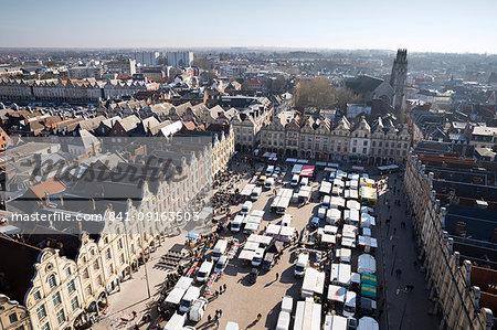 Place des Heros Saturday market viewed from the belfry, Arras, Pas-de-Calais, Hauts-de-France region, France, Europe