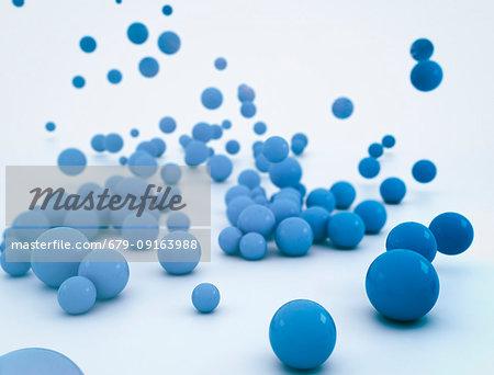 Blue spheres, illustration.