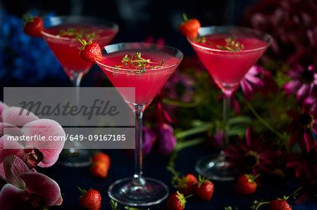 Cocktails in martini glass