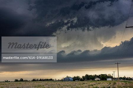 Kelvin-Helmholtz waves form on tornadic thunderstorm, Quinter, Kansas, US