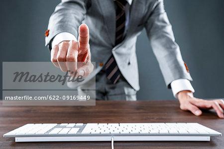 Japanese businessman working at desk